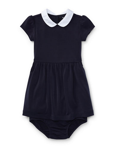 Ralph Lauren Childrenswear Fit-and-flare Denim Shirtdress and Denim Bloomers Cotton Set-BLUE-18 Months