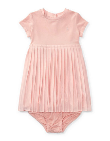 Ralph Lauren Childrenswear Two-Piece Pleated Tee Dress and Bloomers Set-PINK-9 Months