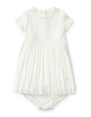 Ralph Lauren Childrenswear Two-Piece Pleated Tee Dress and Bloomers Set-NATURAL-18 Months