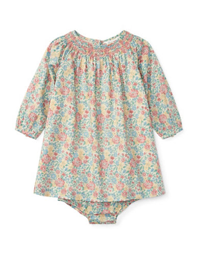 Ralph Lauren Childrenswear Two-Piece Cotton A-Line Dress and Bloomers Set-FLORAL PINK-9 Months