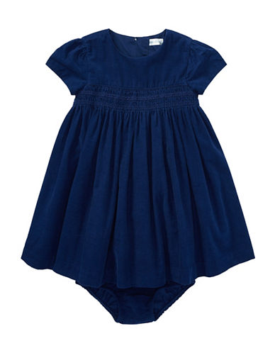 Ralph Lauren Childrenswear Corduroy Dress and Bloomer Two-Piece Set-BLUE-3 Months