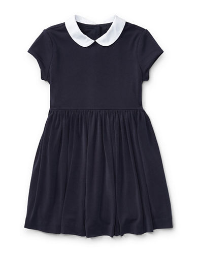 Ralph Lauren Childrenswear Contrast Collar Crepe Dress-BLUE-4