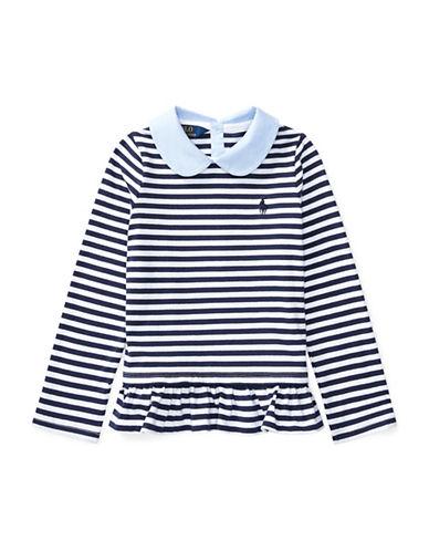 Ralph Lauren Childrenswear Contrast-Collar Striped Cotton Top-BLUE-2