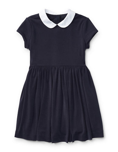 Ralph Lauren Childrenswear Contrast-Collar Crepe Dress-NAVY-5