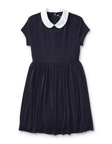 Ralph Lauren Childrenswear Contrast Collar Crepe Dress-BLUE-X-Large
