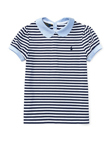 Ralph Lauren Childrenswear Contrast Collar Striped Cotton Top-BLUE-Large