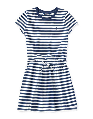 Ralph Lauren Childrenswear Striped Jersey Cotton Tee Dress-BLUE-Large