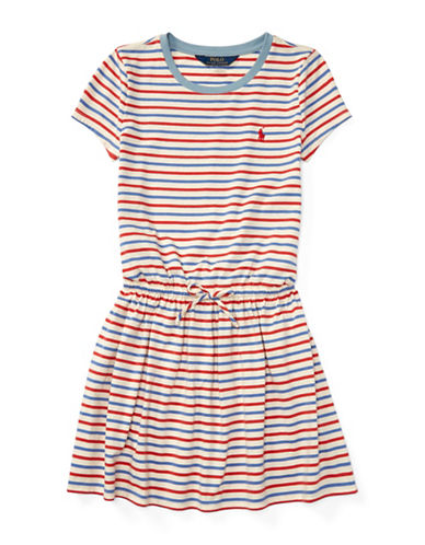 Ralph Lauren Childrenswear Striped Jersey Cotton Tee Dress-BEIGE-Large
