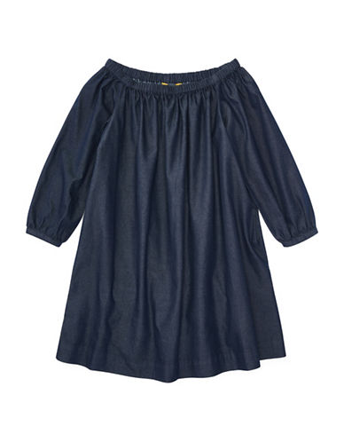 Ralph Lauren Childrenswear Cotton Off-the-Shoulder Dress-INDIGO-7