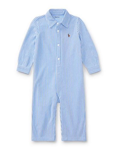 Ralph Lauren Childrenswear Striped Cotton Coverall-BLUE-12 Months