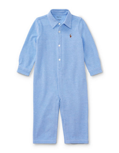 Ralph Lauren Childrenswear Knit Oxford Coverall-BLUE-12 Months