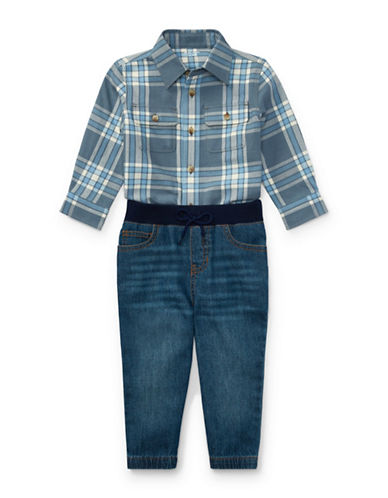 Ralph Lauren Childrenswear Cotton Plaid Shirt and Denim Jogger Set-BLUE-24 Months