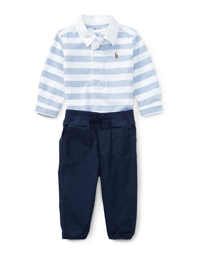 Ralph Lauren Childrenswear Striped Shirt and Joggers Two-Piece Set-BLUE-9 Months