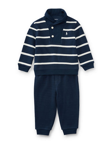 Ralph Lauren Childrenswear Cotton Pullover and Pant Set-NAVY-24 Months