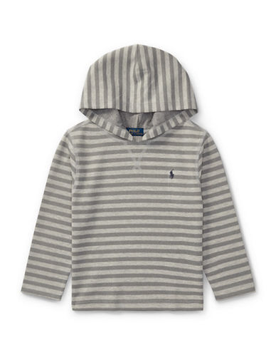 Ralph Lauren Childrenswear Striped Tech Mesh Hoodie-GREY-2