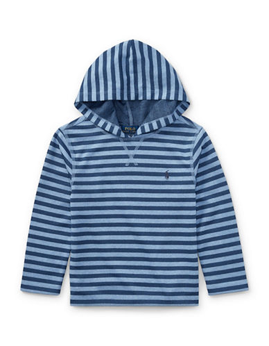 Ralph Lauren Childrenswear Striped Tech Mesh Hoodie-BLUE-4