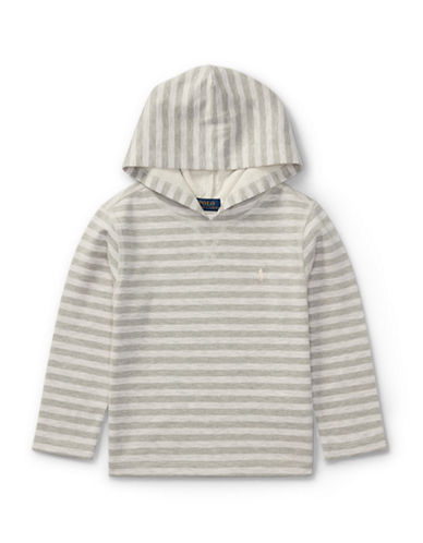 Ralph Lauren Childrenswear Striped Tech Mesh Hoodie-NATURAL-3