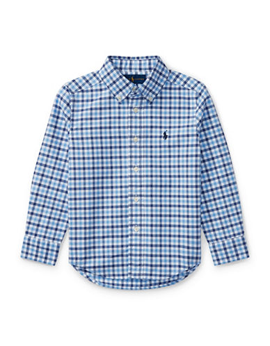 Ralph Lauren Childrenswear Checked Oxford Sport Shirt-MULTI BLUE-2