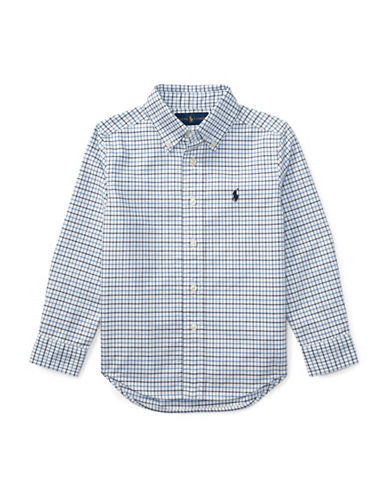 Ralph Lauren Childrenswear Checked Oxford Sport Shirt-LIGHT BLUE-4