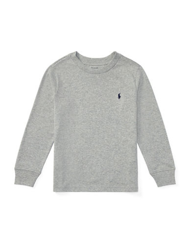 Ralph Lauren Childrenswear Long-Sleeve Cotton Jersey T-Shirt-GREY-3T