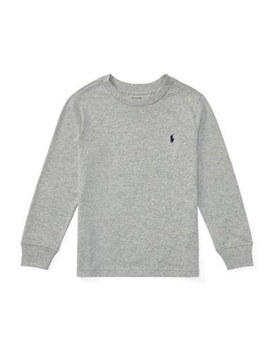 Ralph Lauren Childrenswear Long-Sleeve Cotton Jersey T-Shirt-GREY-4T