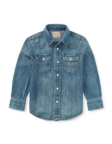 Ralph Lauren Childrenswear Denim Western Cotton Shirt-BLUE-5