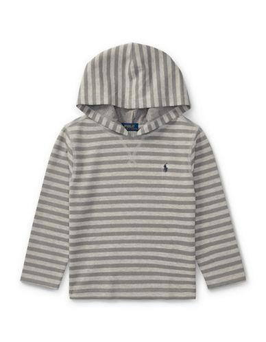 Ralph Lauren Childrenswear Striped Tech Mesh Hoodie-GREY-7