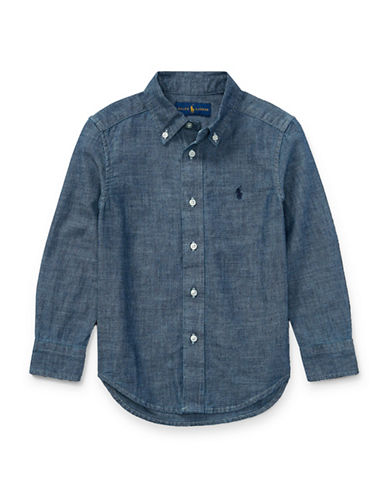 Ralph Lauren Childrenswear Cotton Chambray Shirt-BLUE-7