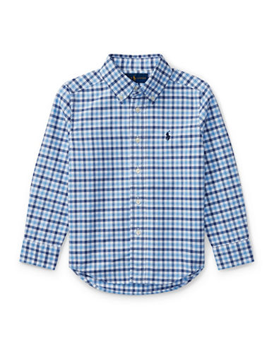 Ralph Lauren Childrenswear Checked Oxford Sport Shirt-DARK BLUE-7