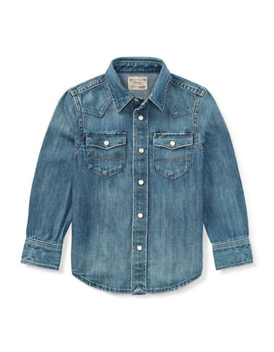 Ralph Lauren Childrenswear Western Denim Collared Shirt-BLUE-Small