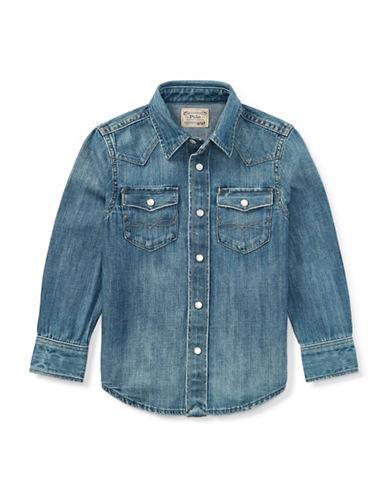 Ralph Lauren Childrenswear Western Denim Collared Shirt-BLUE-X-Large