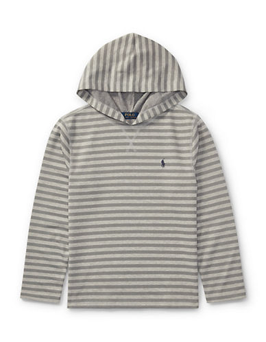 Ralph Lauren Childrenswear Striped Tech Mesh Hoodie-GREY-Large
