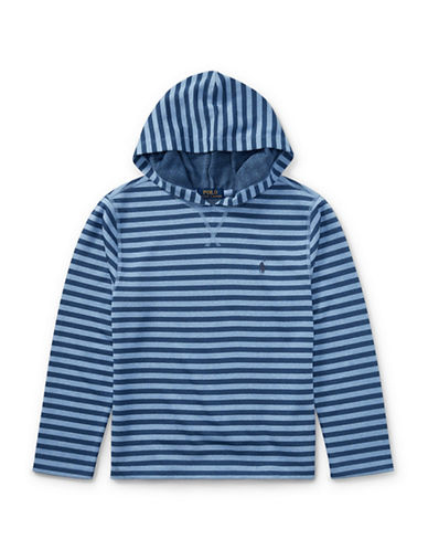 Ralph Lauren Childrenswear Striped Tech Mesh Hoodie-BLUE-Small