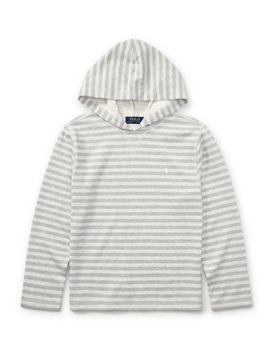 Ralph Lauren Childrenswear Striped Tech Mesh Hoodie-NATURAL-Medium