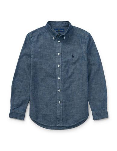 Ralph Lauren Childrenswear Cotton Chambray Shirt-BLUE-Medium