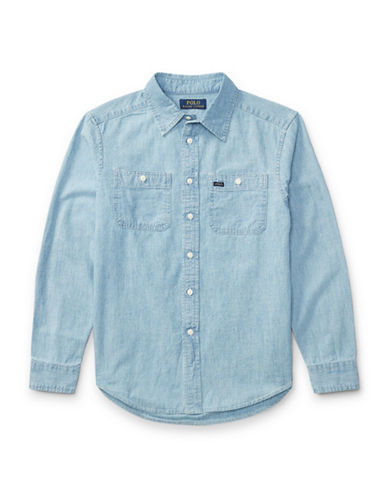 Ralph Lauren Childrenswear Cotton Chambray Workshirt-BLUE-Small