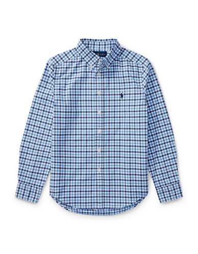 Ralph Lauren Childrenswear Checked Oxford Sport Shirt-BLUE-Medium