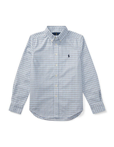 Ralph Lauren Childrenswear Checked Oxford Sport Shirt-BLUE-Small