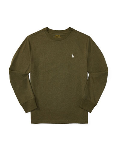 Ralph Lauren Childrenswear Crewneck Cotton Jersey T-Shirt-GREEN-Large