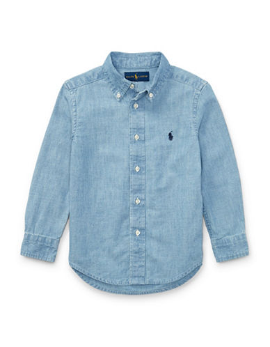 Ralph Lauren Childrenswear Dyed Cotton Chambray Collared Shirt-BLUE-3T