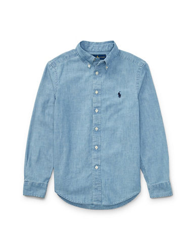 Ralph Lauren Childrenswear Indigo Cotton Chambray Shirt-BLUE-8