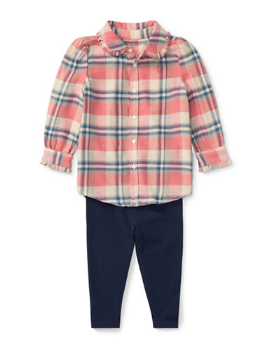 Ralph Lauren Childrenswear Two-Piece Cotton Plaid Shirt and Leggings Set-PINK-6 Months
