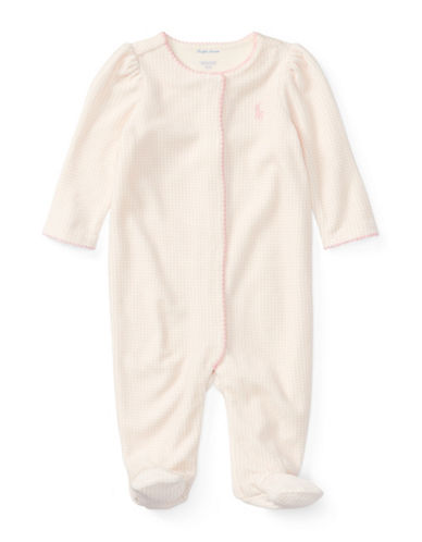 Ralph Lauren Childrenswear Polka-Dot Velour Coverall-PINK-Newborn