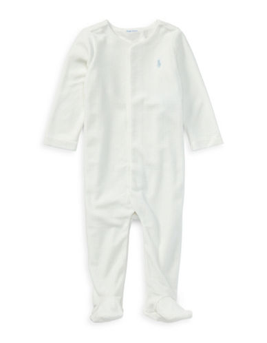 Ralph Lauren Childrenswear Polka Dots Velour Footie-WHITE-6 Months