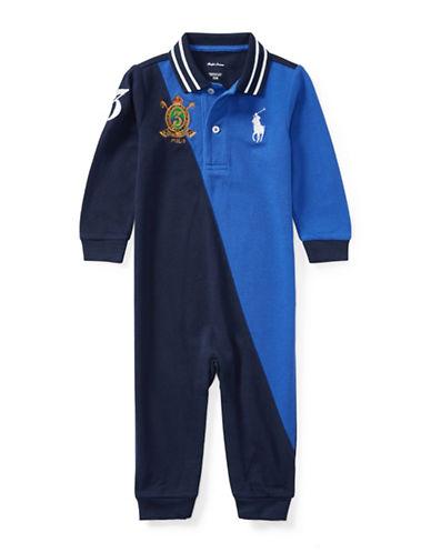 Ralph Lauren Childrenswear Cotton Mesh Colourblock Coverall-BLUE-6 Months