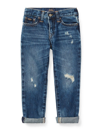 Ralph Lauren Childrenswear Faded Cotton Ripped Jeans-BLUE-2