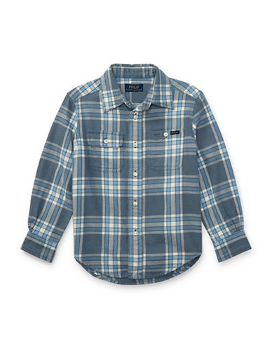 Ralph Lauren Childrenswear Plaid Twill Sport Shirt-MULTI GREY-4