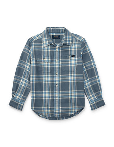 Ralph Lauren Childrenswear Plaid Twill Sport Shirt-GREY-7