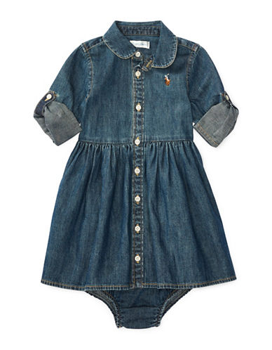Ralph Lauren Childrenswear Fit-and-flare Denim Shirtdress and Denim Bloomers Cotton Set-INDIGO-9 Months