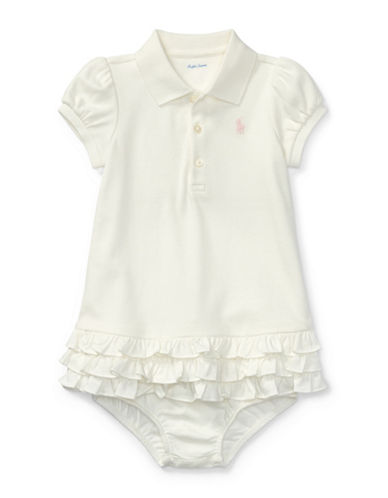 Ralph Lauren Childrenswear Two-Piece Ruffled Cotton Polo Dress and Bloomers Set-WHITE-12 Months